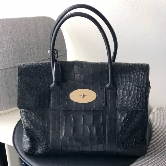 Mulberry Bags   Bayswater Black Deep Embossed Croc Print   Poshmark 7de96d67a9